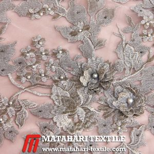 3D Flower Embroidery Silver