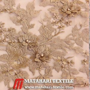 3D Flower Embroidery Gold