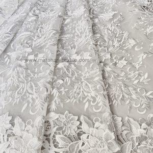 EMBROIDERY TULLE FLORAL APPLIQUE - OFFWHITE
